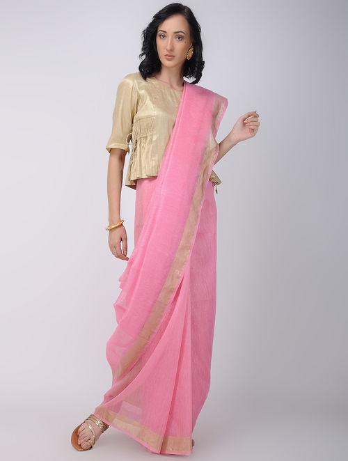 c49685e7be8cd2 Buy Pink Linen Silk Saree with Zari Online at Jaypore.com