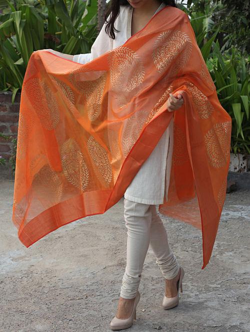 Buy Orange Paisley Maheshwari Cotton Silk Dupatta Online