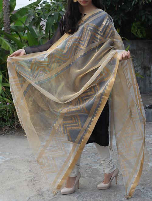 Buy Beige Golden Maheshwari Cotton Silk Dupatta Online At