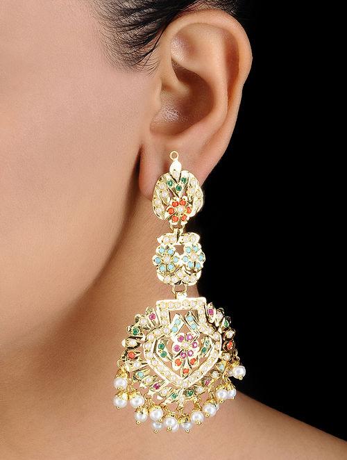 Multi Colored Gold Tone Jadau And Aari Work Earrings