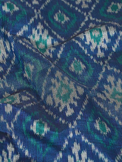 Buy Blue Green Silk Cotton Ikat Fabric Online At Jaypore Com