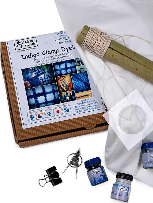 Buy indigo clamp dyeing diy kit with organic dyes and clamps online indigo clamp dyeing diy kit with organic dyes and clamps solutioingenieria Choice Image