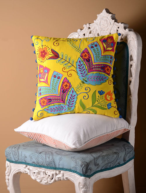Yellow Stylized Floral Cushion Cover  16in x 16in
