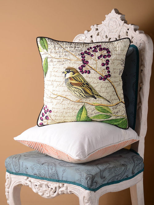 Multi-Color Sparrow with Berries Cushion Cover  16in x 16in