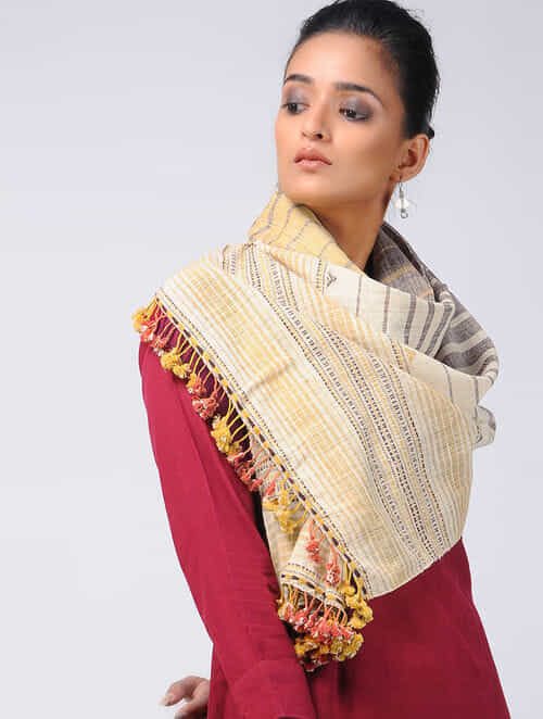 70d010804d0 Buy Ivory-Yellow Kala Cotton Stole with Tassels Online at Jaypore.com