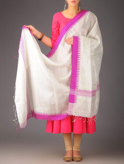 Buy White Fuschia Silk Ikat Dupatta Online At Jaypore Com