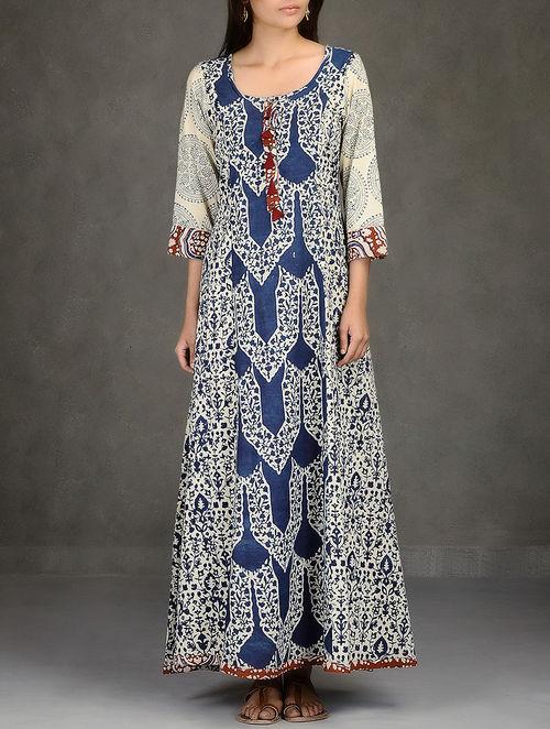 Buy Beige Indigo Natural Dyed Ajrakh Printed Flared Cotton