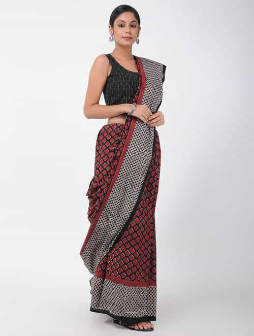 Buy Red Black Natural Dyed Ajrakh Printed Cotton Saree With Tassels