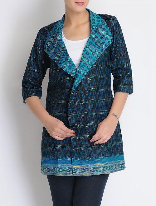 Buy sky blue black silk reversible kantha embroidered