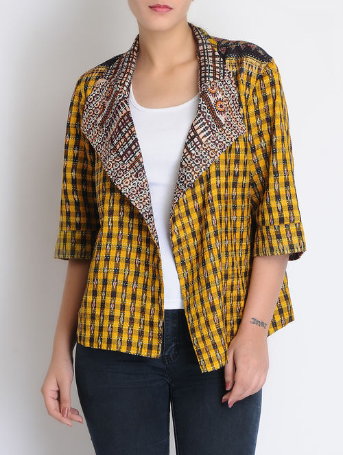 Buy black yellow silk reversible kantha embroidered front