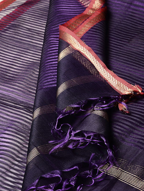 Purple-Red-Golden Maheshwari Silk-Cotton Dupatta