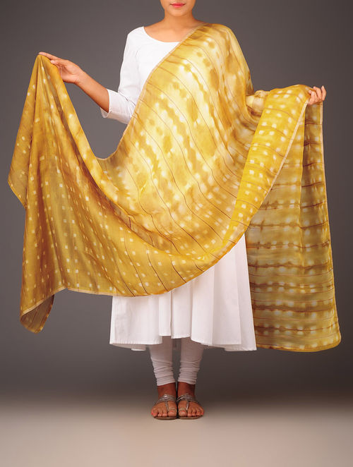 Buy Mustard Yellow Check Shibori Silk Dupatta Online At