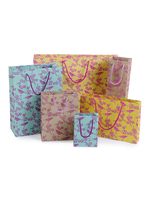 Multicolored Printed Paper Gift Bags (Set of 6)