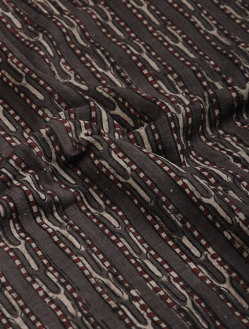 Brown-Ivory Block Printed Natural Dyed Cotton Slub Fabric