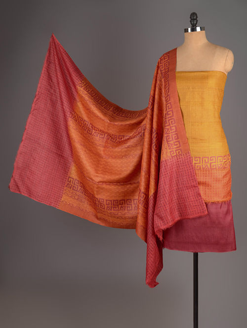 Red-Orange-Mustard Tussar Silk Block Printed Kurta Fabric with Salwar and Dupatta - Set of 3