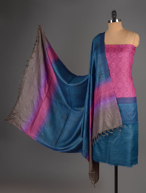 Pink-Blue Tussar Silk Block Printed Kurta Fabric with Salwar and Dupatta - Set of 3