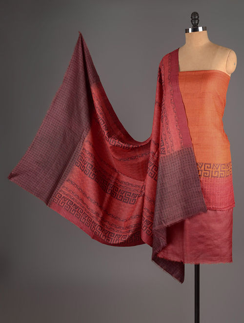 Maroon-Wine-Orange Tussar Silk Block Printed Kurta Fabric with Salwar and Dupatta - Set of 3