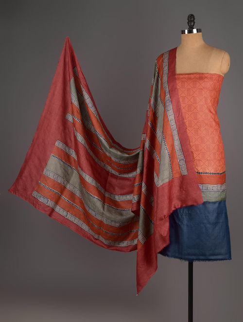 Red-Orange-Blue Tussar Silk Block Printed Kurta Fabric with Salwar and Dupatta - Set of 3