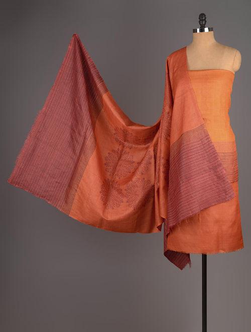 Orange-Maroon Tussar Silk Block Printed Kurta Fabric with Salwar and Dupatta - Set of 3