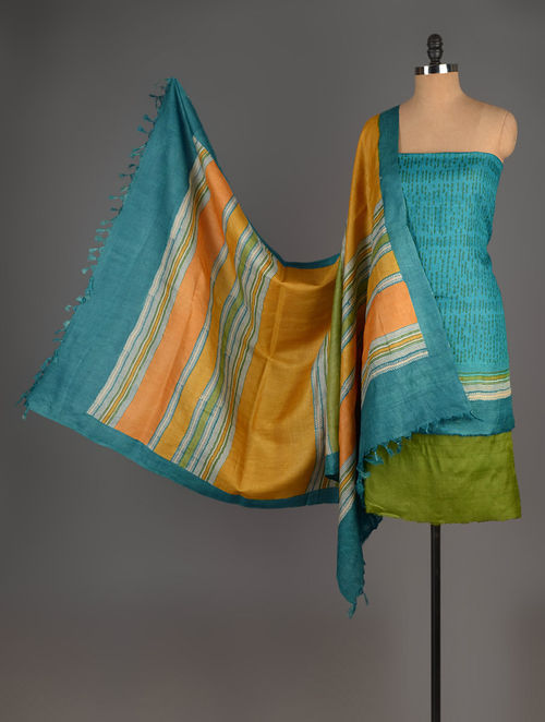 Green-Blue Tussar Silk Block Printed Kurta Fabric with Salwar and Dupatta - Set of 3