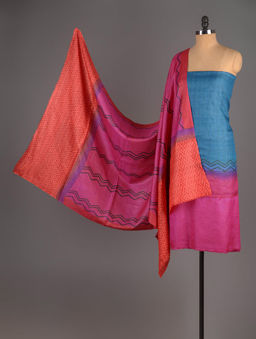 Fuschia-Orange-Blue Tussar Silk Block Printed Kurta Fabric with Salwar and Dupatta - Set of 3