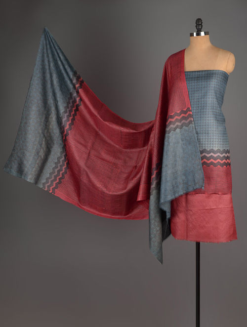 Maroon-Grey Tussar Silk Block Printed Kurta Fabric with Salwar and Dupatta - Set of 3