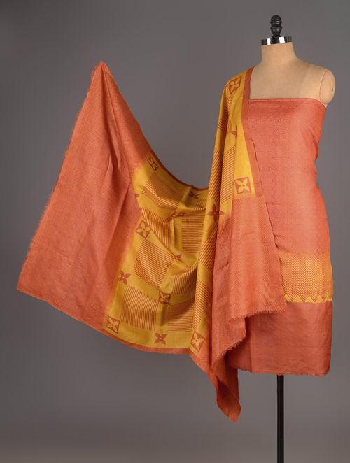 Orange-Mustard Tussar Silk Block Printed Kurta Fabric with Salwar and Dupatta - Set of 3