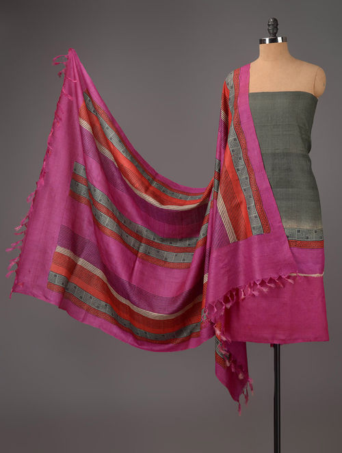 Fuschia-Grey Tussar Silk Block Printed Kurta Fabric with Salwar and Dupatta - Set of 3