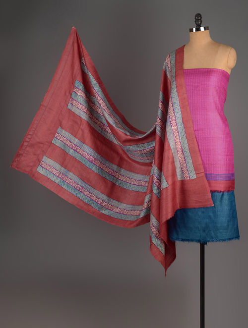 Pink-Red-Blue Tussar Silk Block Printed Kurta Fabric with Salwar and Dupatta - Set of 3