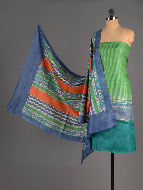Green-Blue Tussar Silk Block Printed Kurta Fabric with Salwar and Dupatta - Set of 3