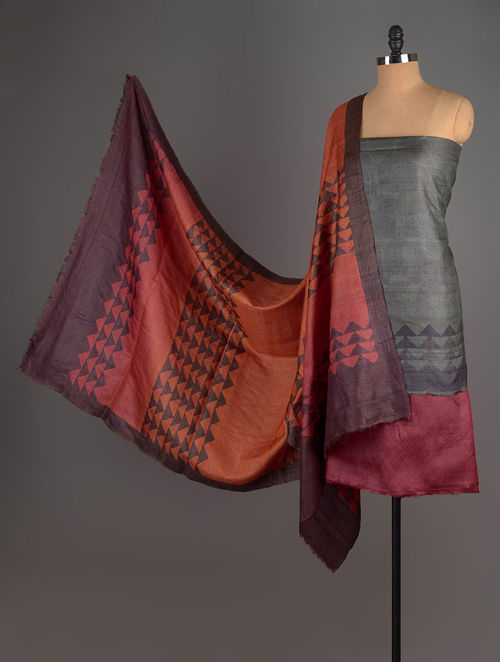 Orange-Grey-Red Tussar Silk Block Printed Kurta Fabric with Salwar and Dupatta - Set of 3