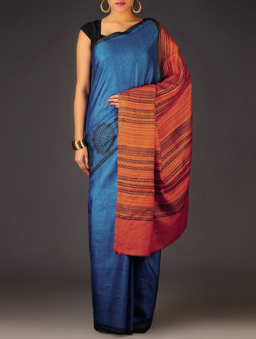 Blue-Orange Geometric Tussar Silk Block Printed Saree