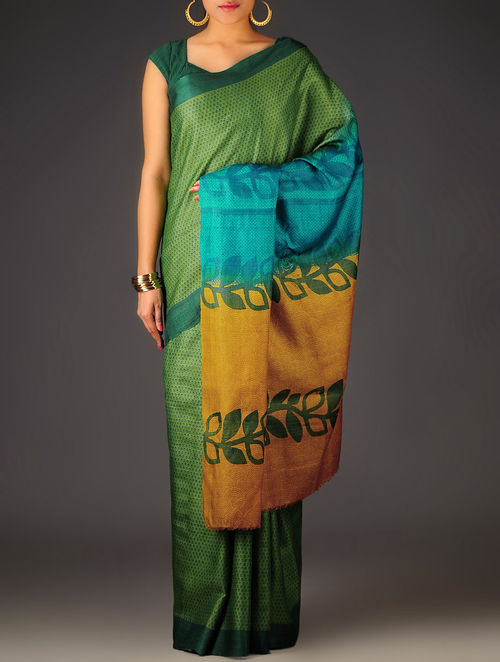 Green-Mustard Abstract Tussar Silk Block Printed Saree