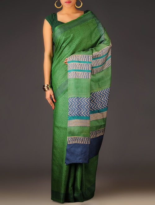 Green-Blue Geometric Tussar Silk Block Printed Saree