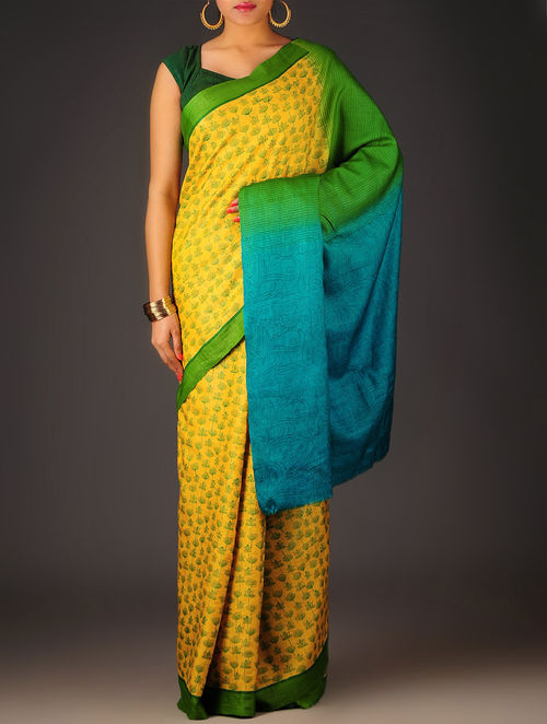 Yellow-Green Floral Tussar Silk Block Printed Saree