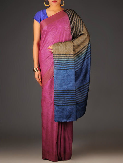 Pink-Beige Abstract Tussar Silk Block Printed Saree