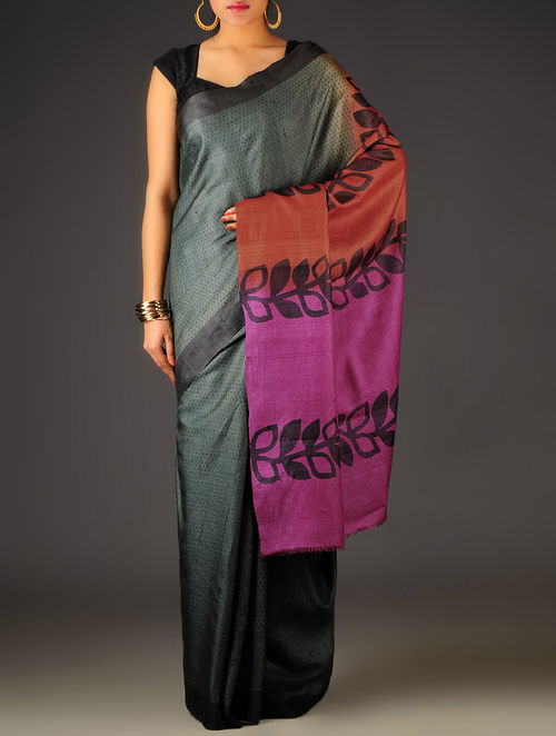 Grey-Red Abstract Tussar Silk Block Printed Saree