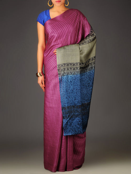 Purple-Grey Geometric Tussar Silk Block Printed Saree