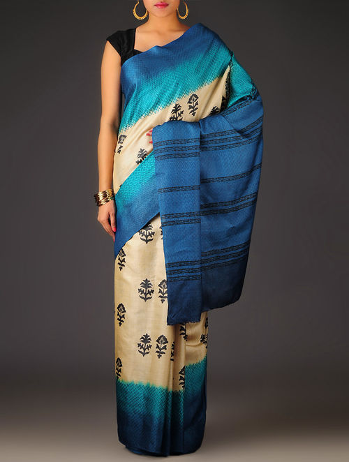 Ivory-Blue Floral Tussar Silk Block Printed Saree