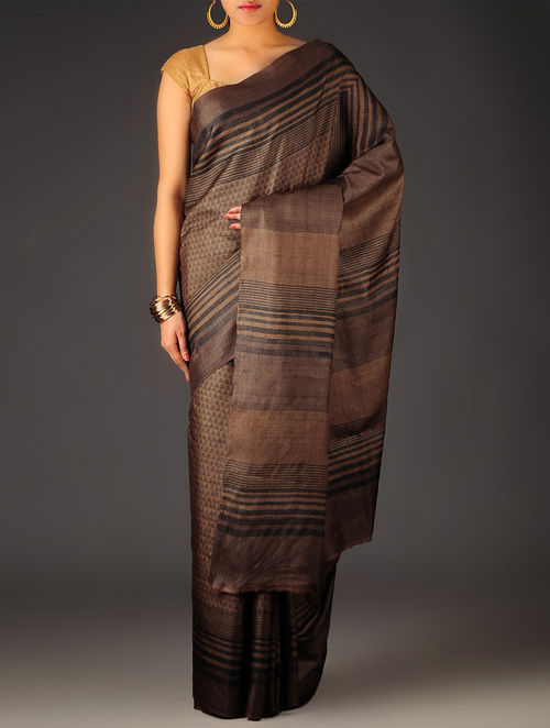 Brown Geometric Tussar Silk Block Printed Saree