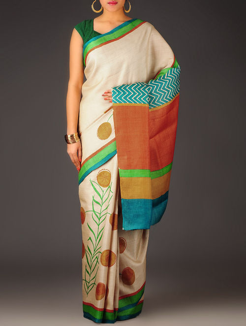 Ivory-Multi-Color Abstract Tussar Silk Block Printed Saree