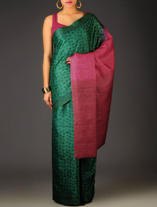 Green-Fuschia Floral Tussar Silk Block Printed Saree