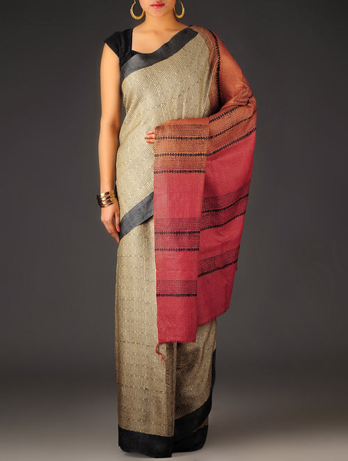 Beige-Rust Geometric Tussar Silk Block Printed Saree