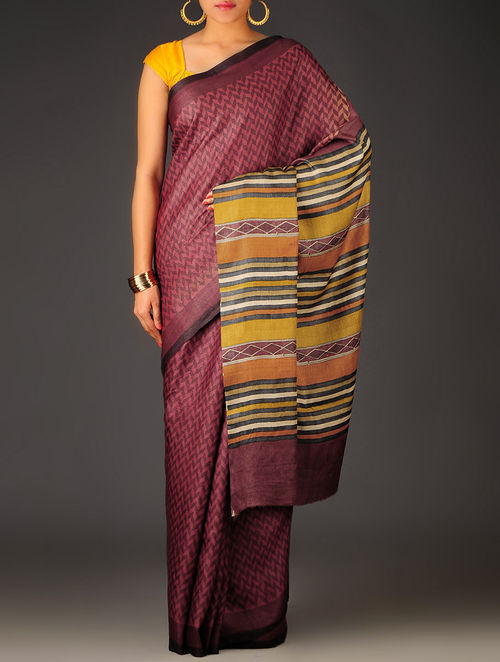 Maroon-Multi-Color Herringbone Tussar Silk Block Printed Saree