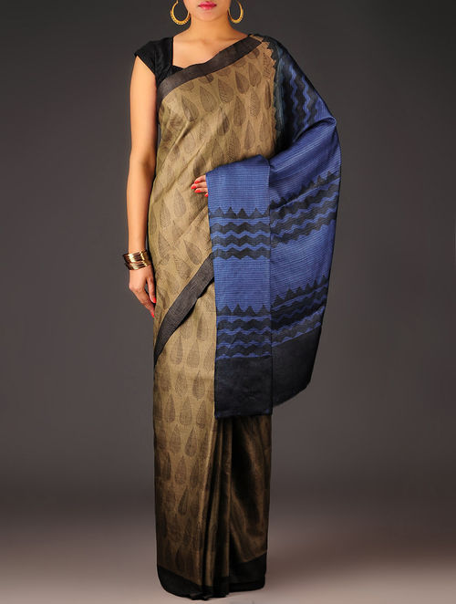 Brown-Blue-Red Leaf Tussar Silk Block Printed Saree