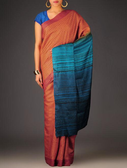 Orange-Blue Geometric Tussar Silk Block Printed Saree