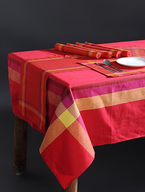 Red Hand Woven Cotton Table Linen Set & Buy Red Hand Woven Cotton Table Linen Set Online at Jaypore.com