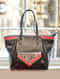 Black-Multicolored Tote with Printed Cotton Detailing