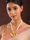 Maroon Green Gold Tone Kundan Beaded Necklace With Pearls