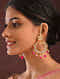 Red Gold Tone Kundan Chandbali Earrings And Earchains With Pearls